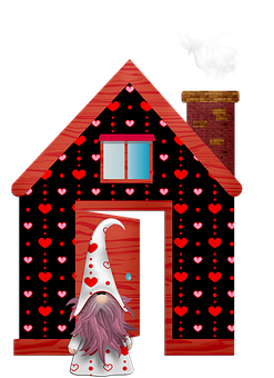 Valentine Gnome, Scandivian Gnome, Elf, Valentine