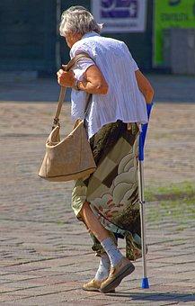 Woman, Seniorin, Disabled, Crutch, Walking Stick
