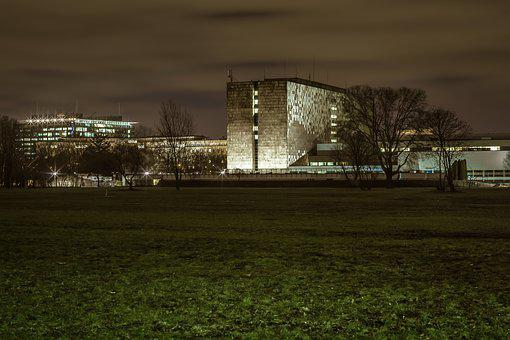 The National Library In Warsaw, Building, Night, Warsaw
