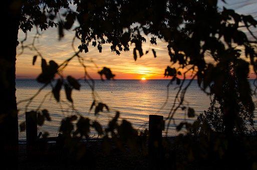 Sunset, Beach, Sea, Lake, Water, Summer, Sky, Landscape