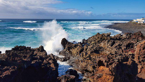 Sea, Lanzarote, Lava, Coast, Water, Holiday, Rock