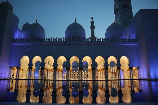Mosque, Uae, Abu Dhabi, Orient, Islam, Architecture