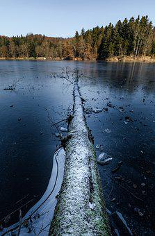 Frozen, Ice, Lake, Winter, Cold, Snow, Frost, Blue