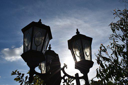 Lamp, Lamp Post, Silhouette, Sky, Blue