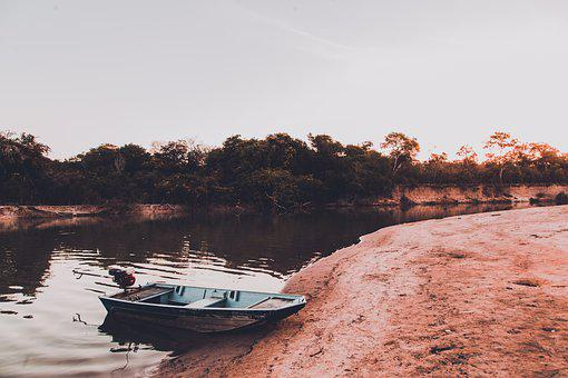 The River's Fish And, Boat, Beach, Brazil, Goiás