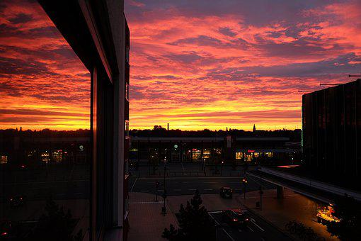 Morgenrot, City, Mirroring, Sky, Colorful, Light, Magic