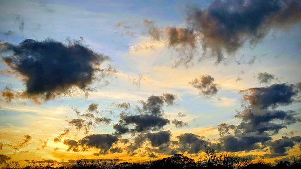 Sunset, Cloudy, Dark Clouds, Sun, Blue Sky, Dusk