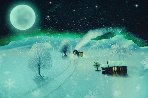 Fantasy, Steam Locomotive, Snow Landscape, Log Cabin