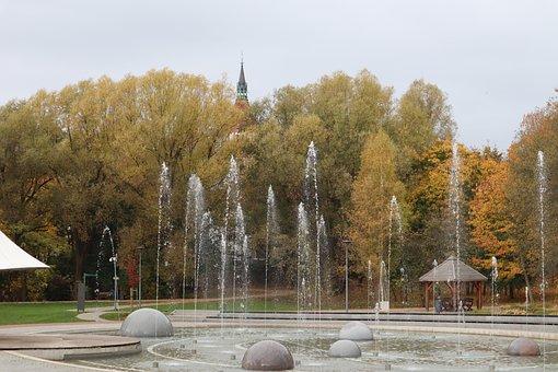 Fountain, Autumn, Olsztyn, Park, Tree