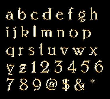 Letters, Gold, Classic, Alphabet, A, B, C, D, E, F, G