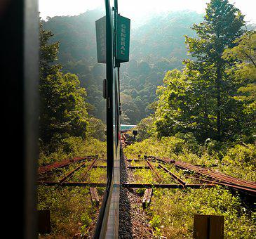 Landscape, Train, Journey, Window, Reflection, Greens