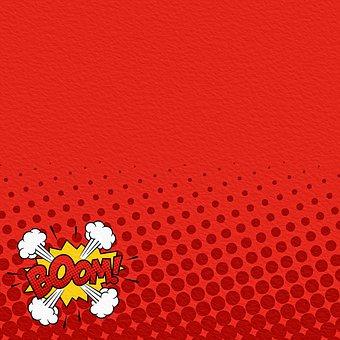 Comic Paper, Halftone, Superhero, Boom, Pow, Comic