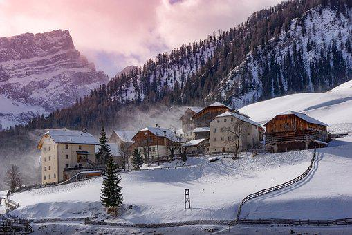 Landscape, Inhabited, Houses, Mountain, Alps, Dress