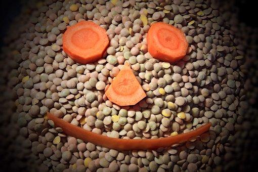 Lenses, Carrots, Face, Funny, Decoration, Legumes