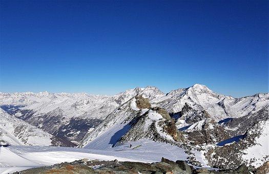Mountains, Paragliding, Snow, Switzerland, Saas Fee