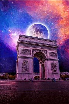 Moon, Night, Fantasy, Dark, Space, Sky, Planet