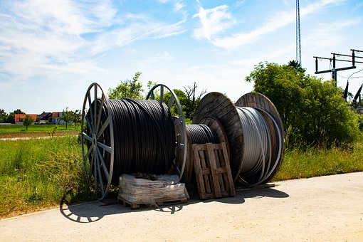 Cable Drum, Site, Coiled, Network Line, Power Line