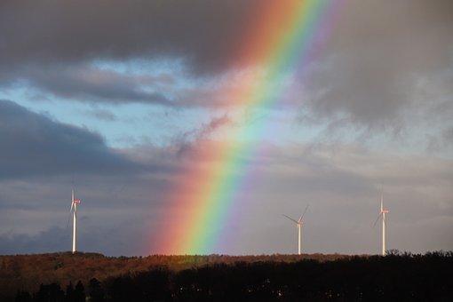Rainbow, Sky, Windräder, Rainbow Colors, Energy