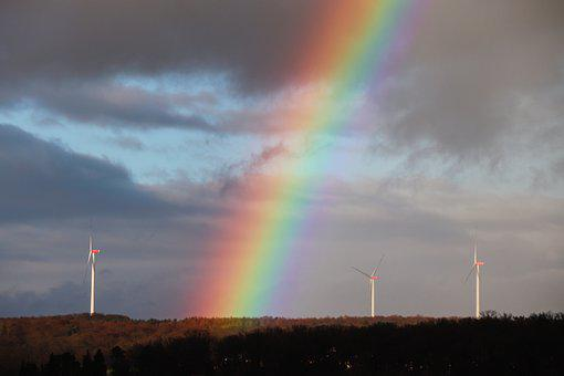 Rainbow, Sky, Windräder, Rainbow Colors, Energy
