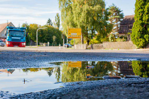 Truck, Road, Road Scene, Traffic, Puddle, Reflection