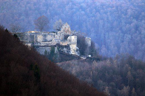 Hohenurach, Ruin, Fortress, Castle, Forest, Mountain
