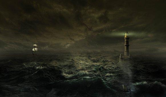 Fantasy, Sea, Forward, Lighthouse, Ship, Water, Ocean