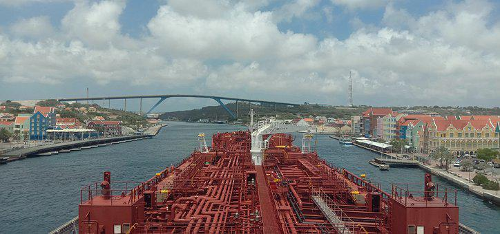 Ship, Curacao, Queen Emma Bridge, Sea, Nature, Water