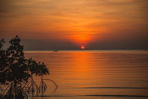 Sunset, Ocean, Sea, Beach, Sky, Sunrise, Water