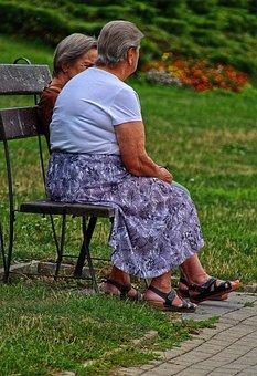Women, Senior Women, Sit, Bank, Retiree Inside