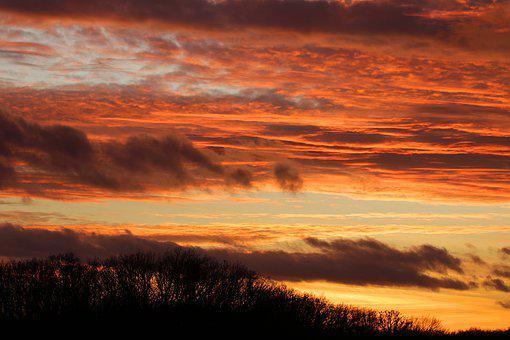 Evening Sky, Winter Evening, Dusk, Silhouette, Sunset
