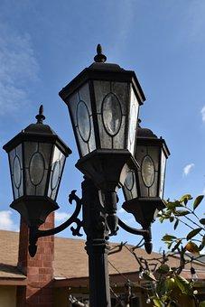 Lamp, Lamp Post, Sky, Blue