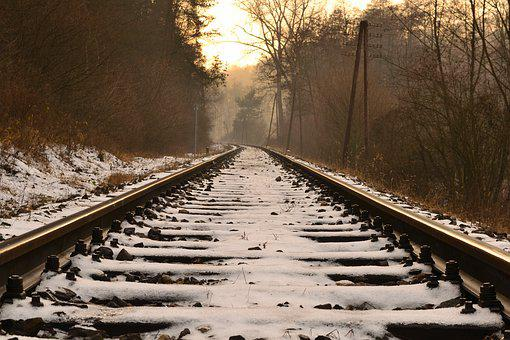Rails, Sleepers, Snow, Railway Track, The Monorail