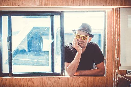 Window, Window Sill, Wall, Man, Sunglasses, Laugh, Boat