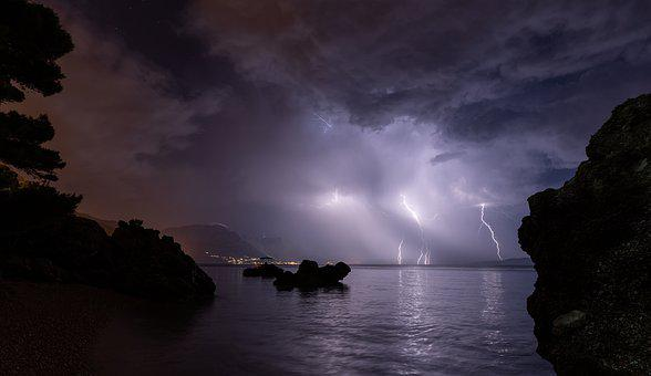 Lightning, Night, Storm, Thunderstorm, Thunder, Weather