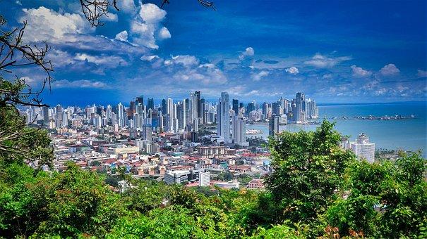 Panama City, Skyline, Coastline, View, Aerial, Sea, Sky