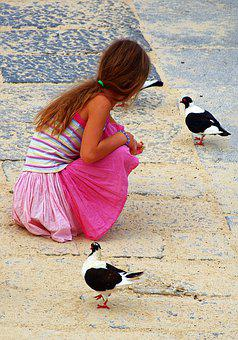 Girl, Pigeons, Feed, Attract, Young People, Sit, Watch