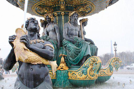 Fountain, Paris, Statue, Antique, Water Feature