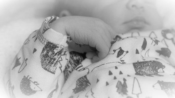 Baby, Baby's Hand, Black And White, Background, Mouth