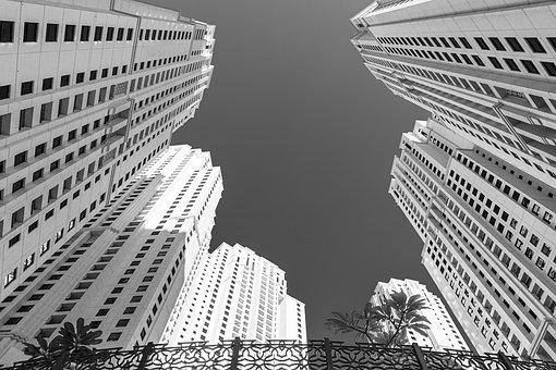 Architecture, Black White, Building, Skyscrapers