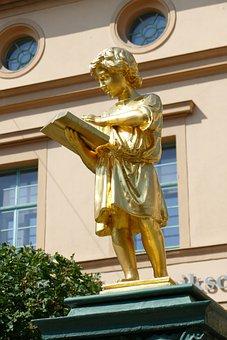 Figure, Boy, Young, Read, Reader, Book, Golden, Weimar