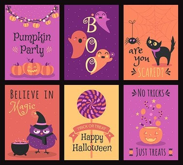 Halloween, Cute, Cartoon, Card, Pumpkin, Garland, Party