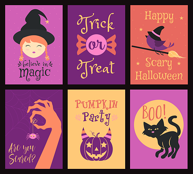 Halloween, Cute, Cartoon, Card, Pumpkin, Ghost, Boo