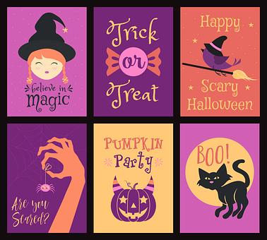 Halloween, Cute, Cartoon, Card, Pumpkin, Ghost, Boo