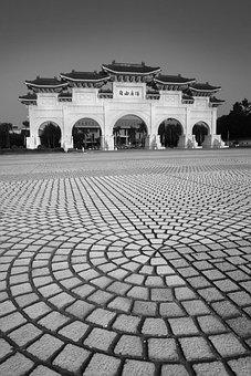 Taiwan, Asia, Fredoom Square, Black And White, China