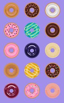Donut, Sugar, Chocolate, Strawberry