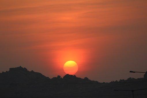 Sunset, Hills, Sun, Dusk