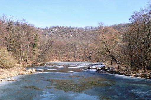 River, South Moravia, Znojmo, Dyje, Winter, Landscape