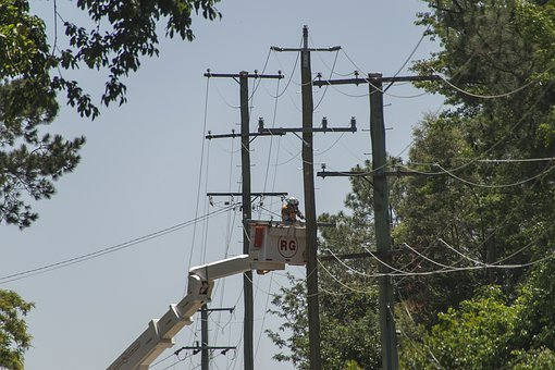 Workers, Men, Linesmen, Electricity, Repair, Poles