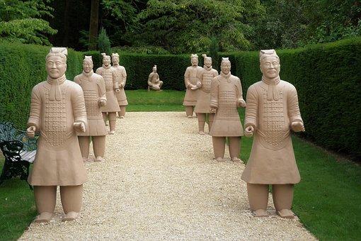 Landscape, Statues, Chinese, Garden, England, Tourism