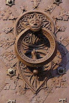 Knocker, Door Knocker, Metal, Head, Demon, Entrance